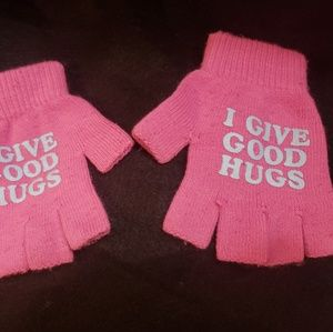 I Give Good Hugs Pink Fingerless Gloves
